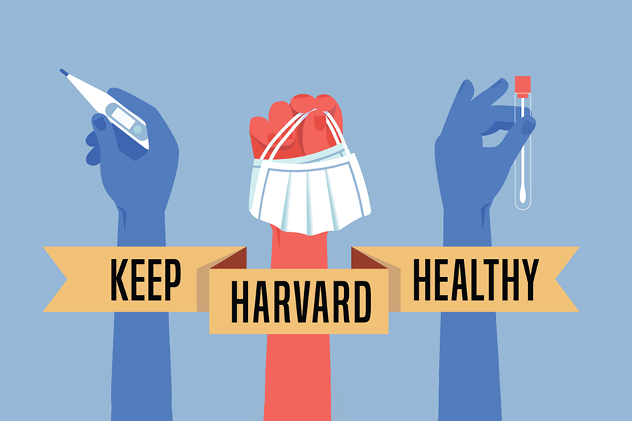 "An illustration of hands holding a maks, test tube, and thermometer, with a banner that says ""Keep Harvard Healthy"""