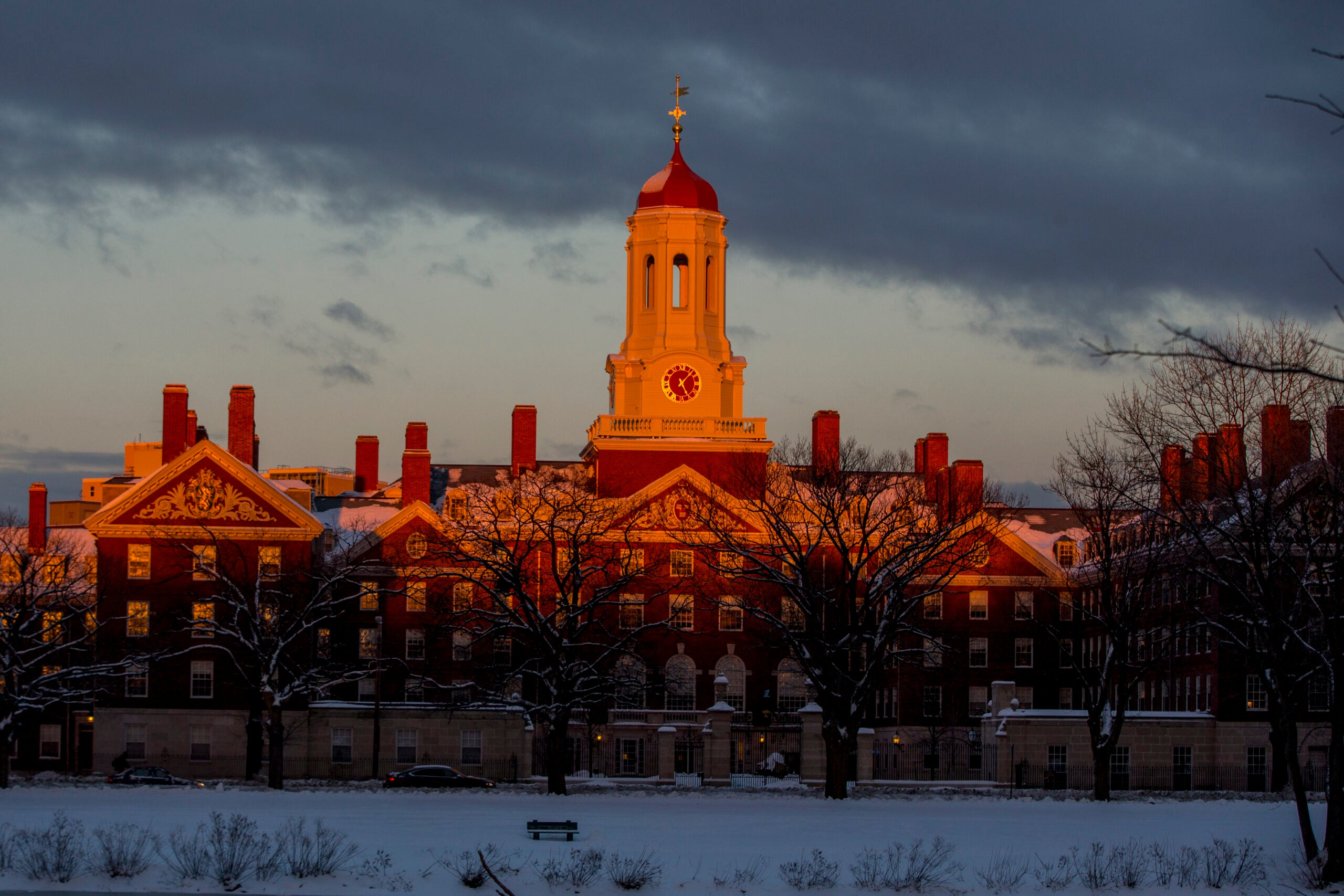 the campus with a sunset