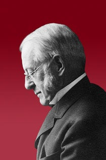 Graphic of President Eliot against a crimson background.