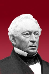 Graphic of President Everett against a crimson background.