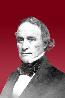 Graphic of President Sparks against a crimson background.