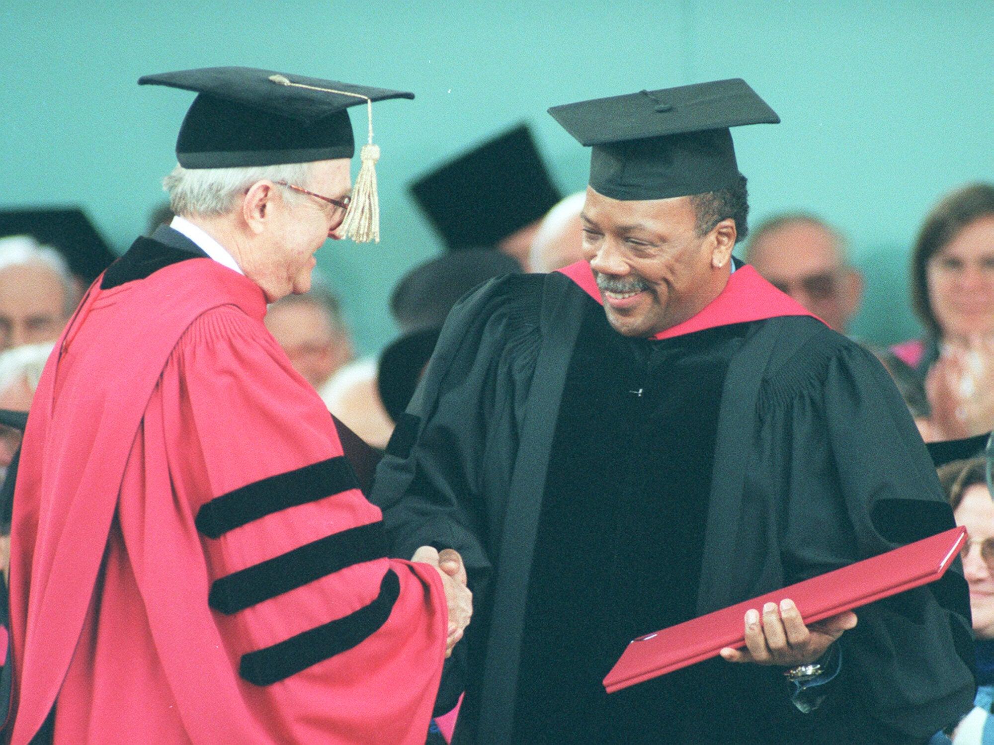 Quincy Jones in cap and gown