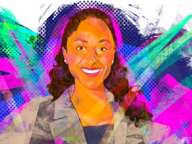 An illustration of Ana Billingsley in a suit jacket with a colorful background