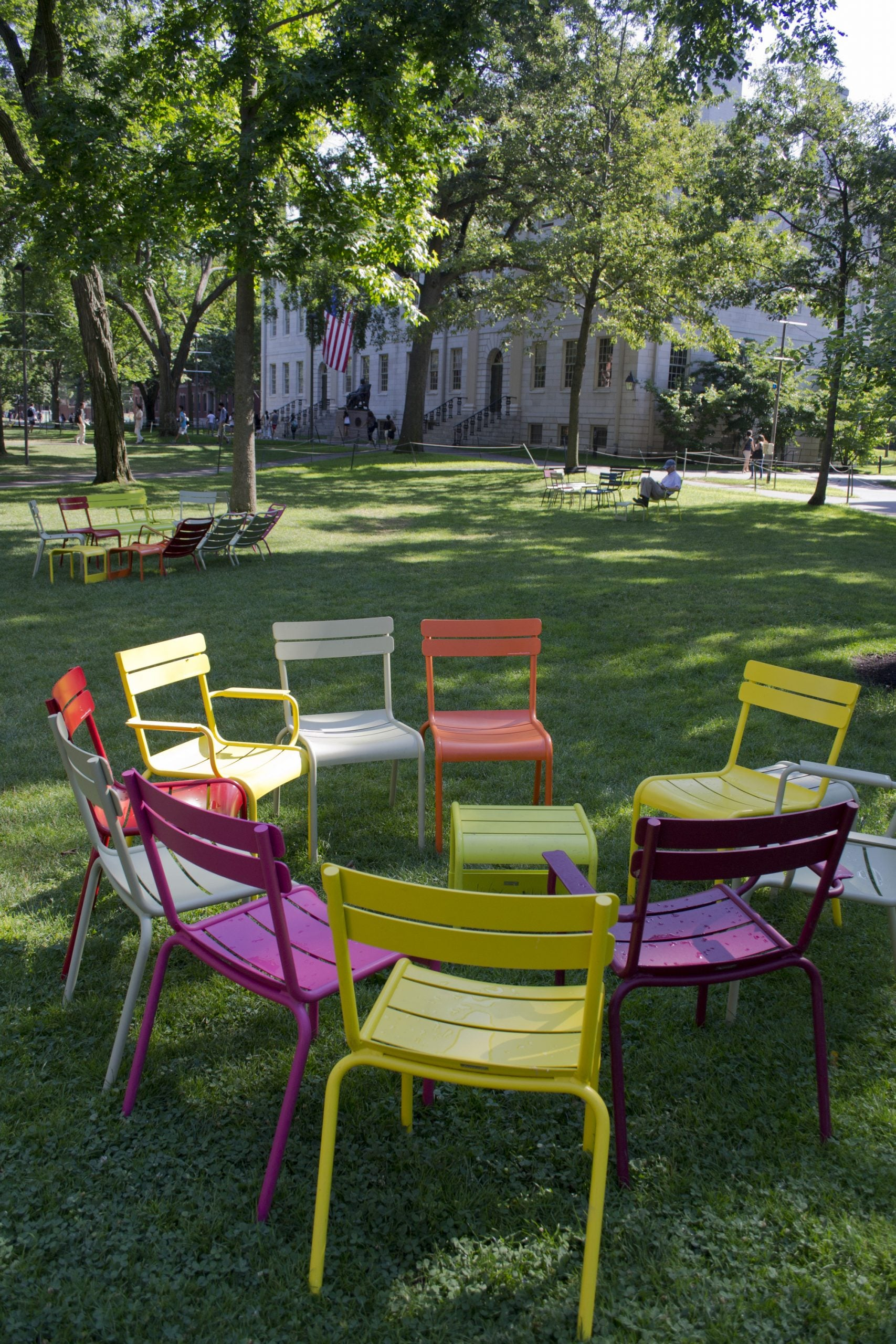 A circle of colorful chairs