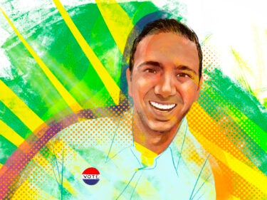 An illustration of a man with a Vote sticker on his shirt
