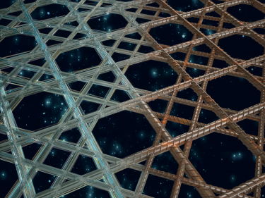 A lattice structure, kind of like you'd see in a wicker chair
