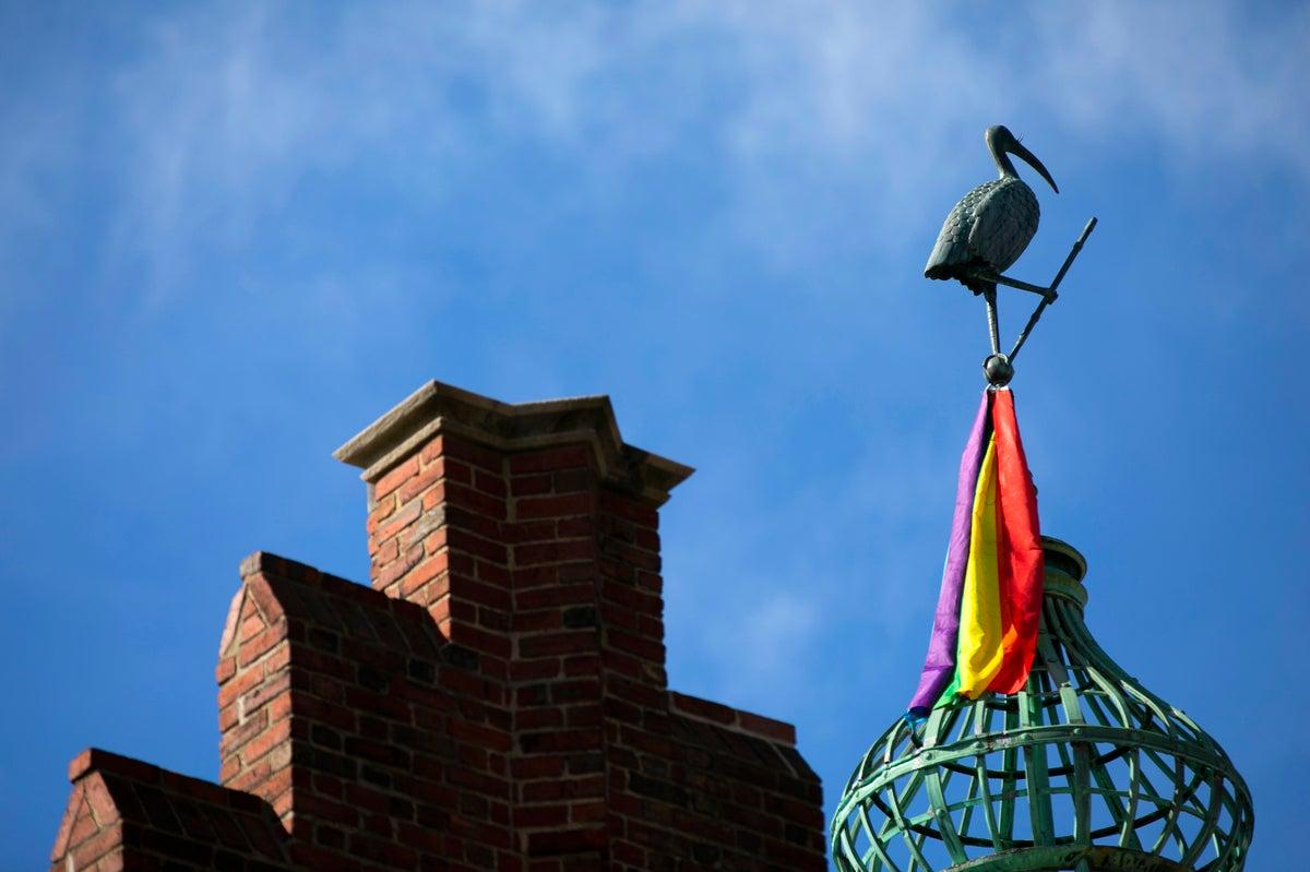 A rainbow flag sits under a pelican on a cupola