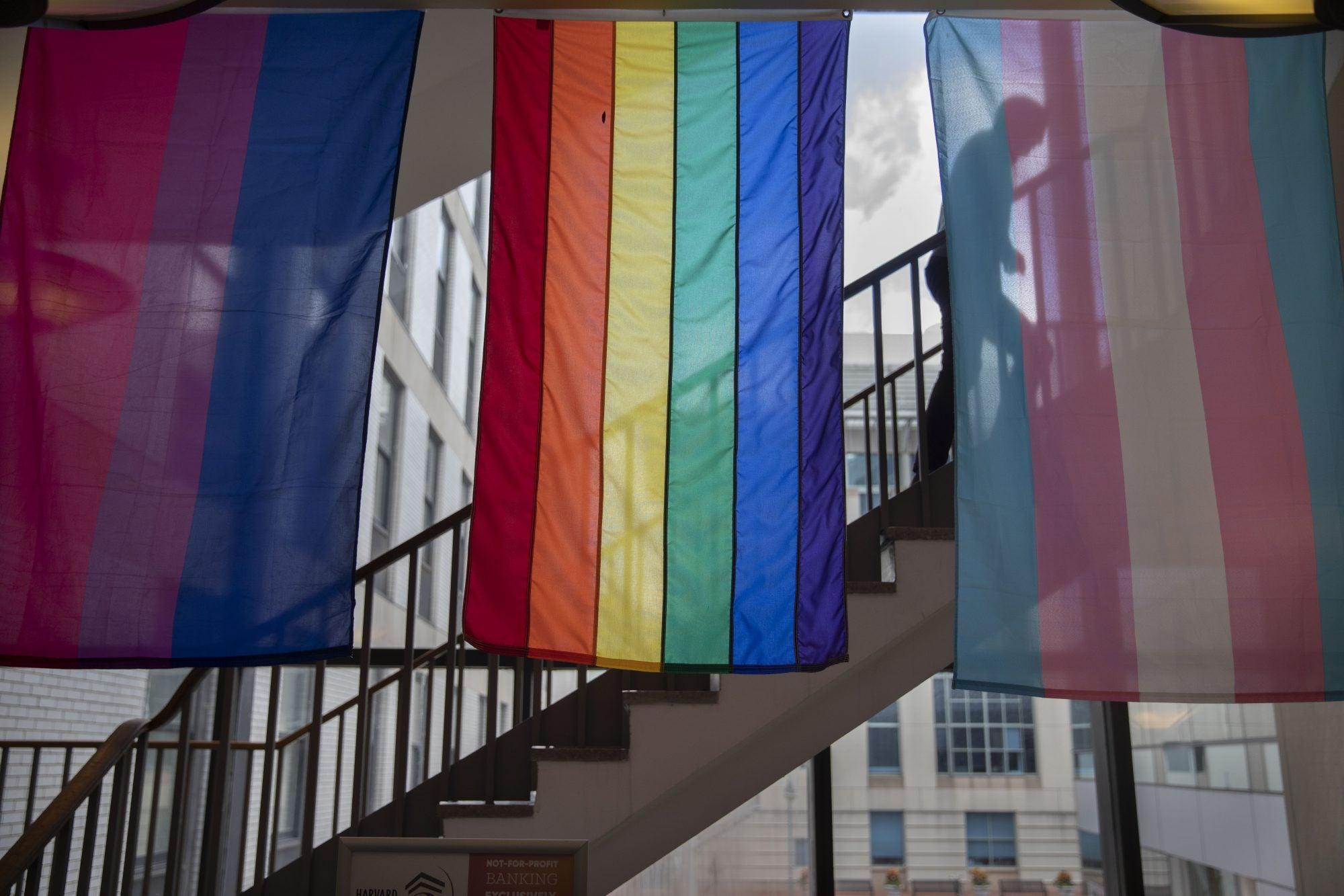 he Bisexual Flag, (from left) Rainbow Flag and Transgendered Flag