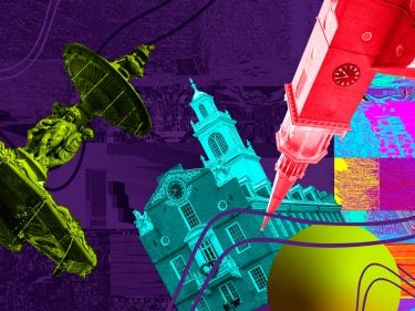 An abstract illustration of state buildings