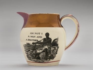 """A water jug that says """"Am I not a man and a brother"""""""