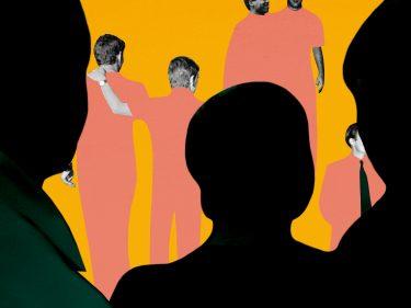An illustration in black and orange of men