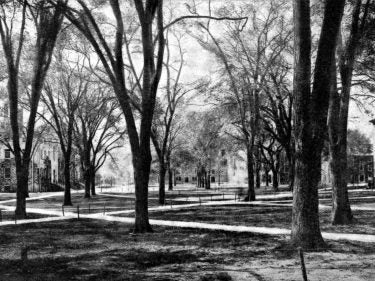 A black and white photo of Harvard Yard in 1920