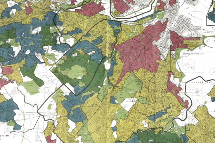 A map of boston with the segregated neighborhoods highlighted.