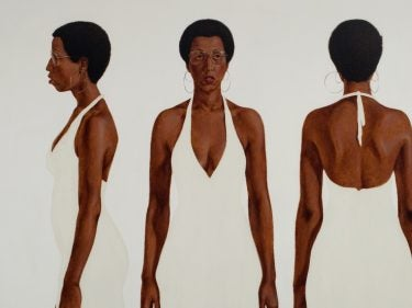 A painting of an African American woman in a white dress