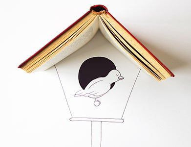 A book is the roof of a drawn bird house with a bird