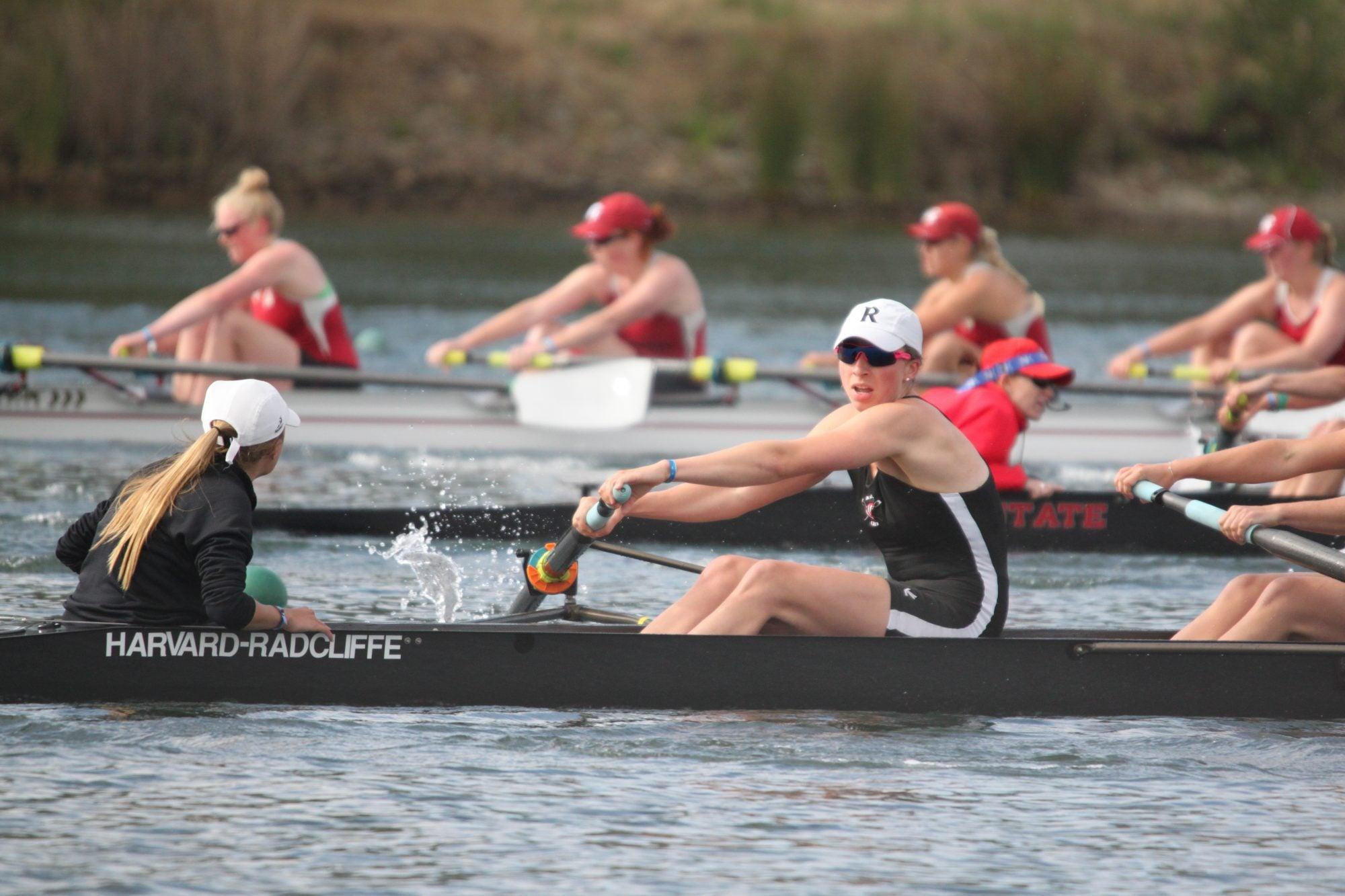 Women rowing in a boat