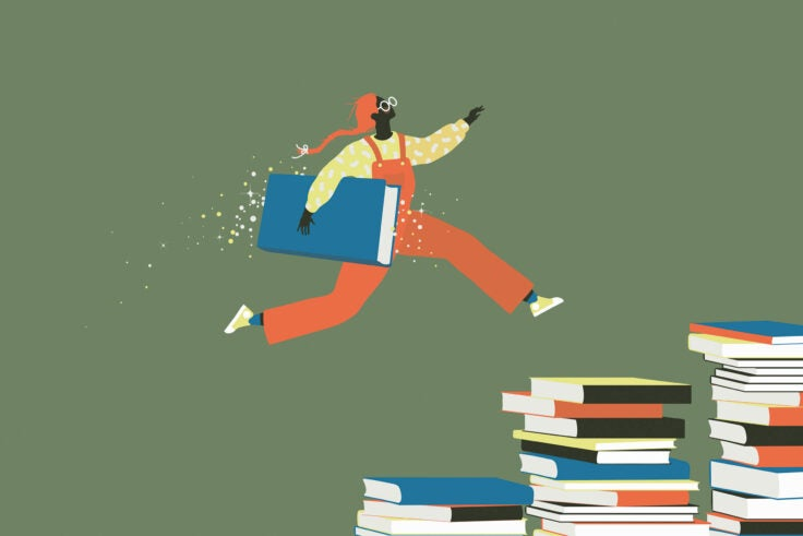 An illustration of a child leaping on piles of books