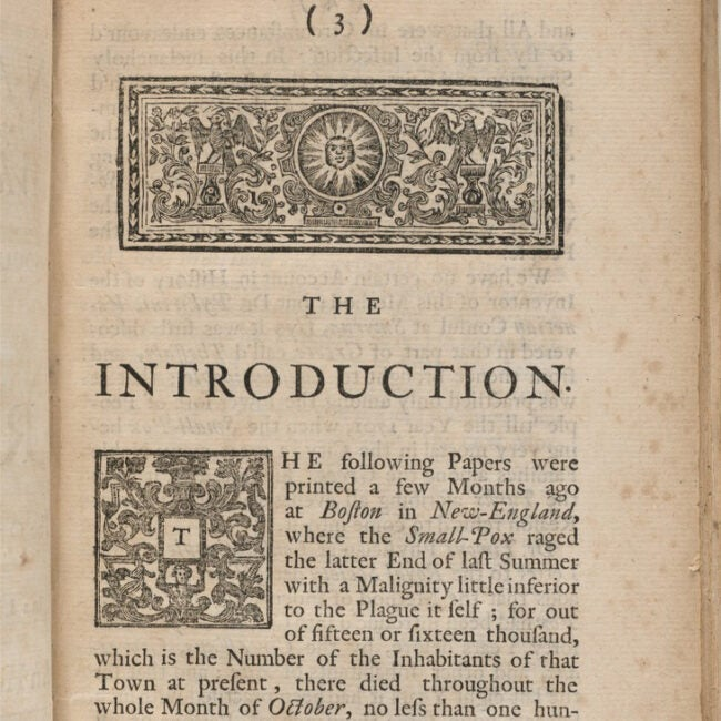 A page from an old book with an ornate graphic on the top and at the beginning of the paragraph