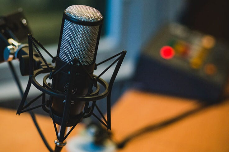 A microphone and other equipment used for making a podcast