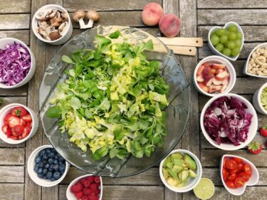 Lettuce and a bunch of salad fix-ins